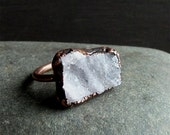 Druzy Ice Ring Statement Ring Size 9.5 Copper Geode Holiday Jewelry Gem Stone Striped Pale Grey Sugared Artisan