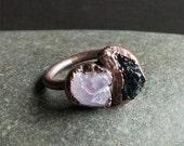 Amethyst Dual Rough Stone Ring Black Tourmaline Copper Raw Crystal Gemstone Size 6.5 Ring Raw Stone Jewelry Magic