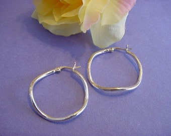 Estate Sterling Silver Irregular Tube Hoop Earrings 925 Hallmarked 1.25inches