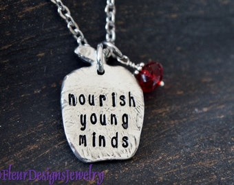 Nourish Young Minds, Teacher Necklace, Hand Stamped Apple Charm Necklace