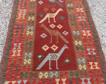 "Natural Chobi Kilim Pictorial Rug/Kilim Uzbek 6 ft 7  x 3 ft 7"" . Hand woven. 200 x 109 cm Tapis"