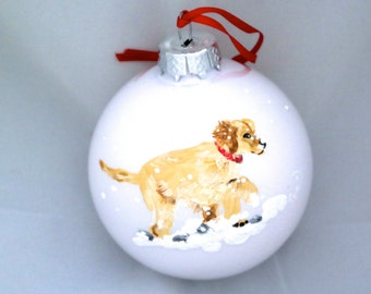 Hand Painted Ornament-Dog in Snow-Item 821