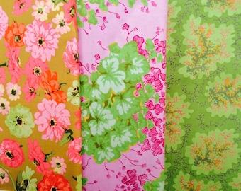 Kaffe Fassett fabric, OOP rare,Philip Jacobs Martha Negley Westminster Pink green fabric, half yard bundle, Vhtf early prints