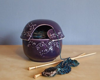 ceramic yarn bowl with lid in blue violet
