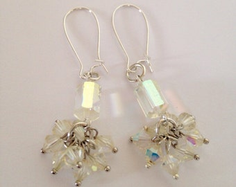 Vintage 1950s Twinkle Twinkle Earrings - Aurora Borealis Glass Crystal AB Dangly Earrings