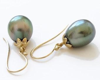 Green Tahitian Pearl 18k  Earrings Fine Jewelry
