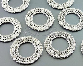 2 round crochet pendants, doily lace charms, matte silver findings, necklace pendants / jewelry supplies 1587-MR (matte silver, 2 pieces)