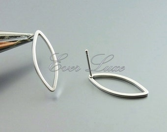 4 long marquise 20mm stud earrings, geometric earrings, stud earrings, marquise earrings, silver earrings 1070-MR-20