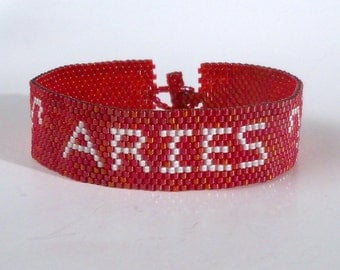 Aries Zodiac Horoscope Sign - Bracelet Pattern - Peyote Pattern