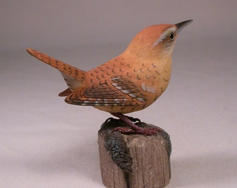 Carolina Wren Wooden carved Bird