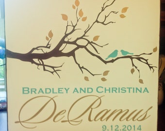24x24 Birds and Branch Hand-painted Sign for Couples and Families