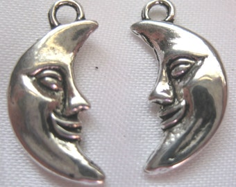 Moon face Charm Tibetan Silver Jewelry Supply 3 pieces half moon