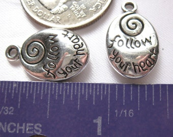 Follow Your Heart  Charm Tibetan Silver Jewelry Supply 2 pieces pendant pendent