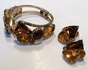 Juliana Bracelet Earrings Clamper Cuff Amber Topaz Rhinestones