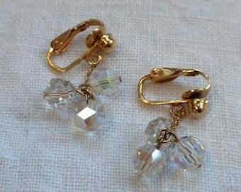 Crystal Bead Earrings Dangling Aurora Borealis