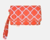 Cell Phone Cushioned Wristlet Wallet - Womens' iPhone Wallet - Salmon Wristlet - Orange Trifold Wallet - Womens' Clutch - Removable Strap