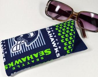 Seattle Seahawks fabric padded eyeglass sunglass case