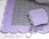 Crochet baby blanket and baby bonnet gift set made in soft gray yarn with scalloped lilac trim