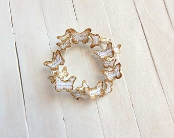 Dollhouse wreath with butterflies in 1:12 scale