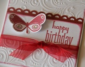 Birthday Card Embossed Scrolls/Swirls with Butterfly, Happy Birthday Greeting Card with Stamped Butterfly (EBD1507)