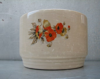 Vintage planter - Garden - Floral - Ceramic - Orange Flowers - Arrangements - Knowles Utility Ware - Made in the USA