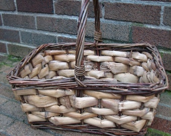 Vintage Gathering Basket - Garden Decor - Bent Twig - Willow Basket - Bushel Basket - Gift - Storage - Container - Easter - Waldorf