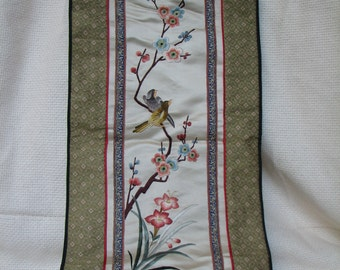 Vintage Wall Hanging - Silk - Embroidery - Tapestry - Textile - Asian - China - Chinese - Birds - Flowers - Decor - Wall Art -