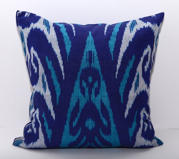 15x15 Throw Pillow Cover : 15x15 ikat cushion cover turquoise ikat pillow turquoise