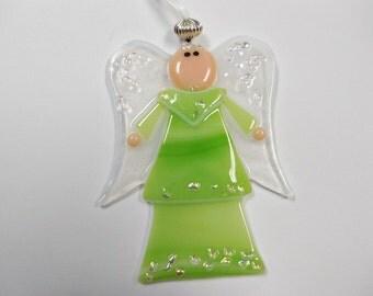Fused Glass Green Angel   Ornament Suncatcher Keepsake