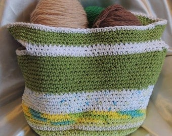 Green & White Cotton Crocheted Multi-purpose Basket Bag With Touches of Yellow and Turquoise