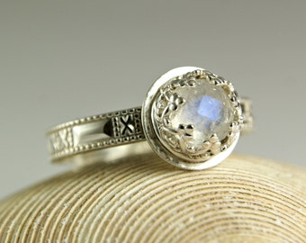 Sterling Silver Faceted Moonstone Ring, Blue Moonstone Ring, June Birthstone, Engagement Ring, custom sized