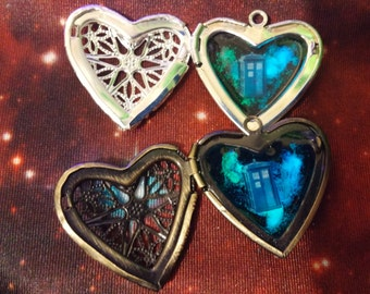 """Silver Plated or Brass Glow In The Dark """"I Heart The Doctor"""" Police Box Galaxy Locket Necklace"""