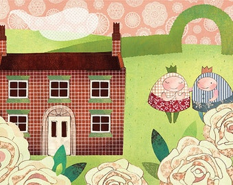 Emily's cottage, 6 x 9 print, wall decor, rose, cottage