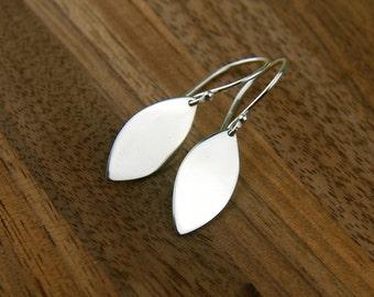 Marquis drop earrings in sterling silver, leaf charms, silver leaf, stamping blank, marquis earrings, silver marquis earrings, simple