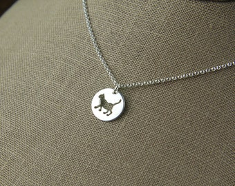 Cat charm necklace in sterling silver, sterling silver cat, kitty cat, feline, cat jewelry, round charm