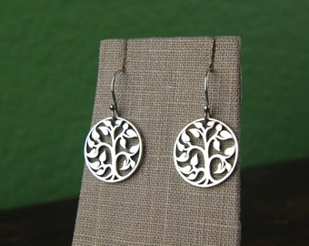 Sterling silver tree of life pendant earrings, tree of life earring, tree earrings, silver tree pendant, family tree, nature, mother's day