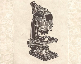 Microscope Linocut Print- Elegant Edwardian Steampunk Science- Signed 1 of 1 Monoprint- 8 x 10