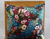 Pillow peacocks and flowers pink brown gold green blue teal 18 x 18 inch cushion cover decorative accent pillow