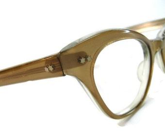 Vintage Tan HornedRim Cateye Eyeglasses Eyewear Frame NOS