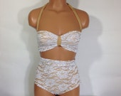 White lace nude retro swimsuit