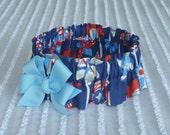 "Patriotic Pinwheels Dog Scrunchie Collar - light blue bow - L: 16"" to 18"" neck"