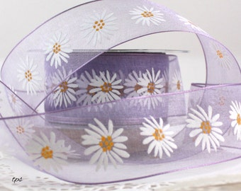 """Wired Lavender with Daisies Ribbon, 1.5"""" wide by the yard, Gift Wrapping, Wreaths, Baby, Weddings, Sewing, Easter Ribbon, Party Supplies"""