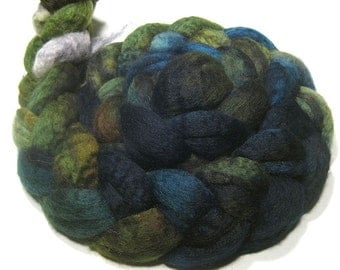 Hand painted BFL wool roving - hand dyed spinning and felting fiber - 4.6 oz Stream Bed - blue green combed top - wool fiber