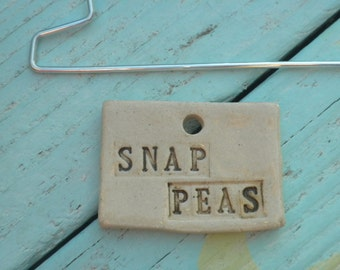 Handmade Snap Peas Ceramic Plant Marker