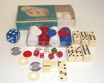 Dog Chips,bakelite dice,Dominos,Box poker chips, junk  drawer Lot,mixed media supplies