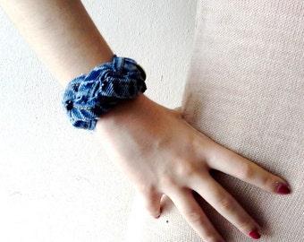 Recycle jean bracelet Denim Bracelet distressed jean wrist band braided worn out recycled denim fabric bracelet
