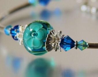 blue and teal floral lampwork bracelet