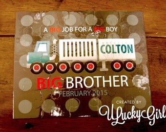 Personalized Kid Puzzle Gift, Big Brother, Big Sister, Truck Puzzle