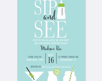 Sip and See Baby Invitation, Baby Bottle Shower Invitation