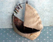 Nautical Sailboat Ornament Mixed Media Assemblage - Helvetet